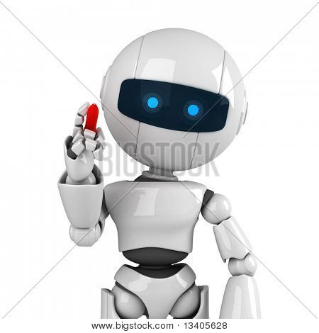 Funny white robot stay with pen