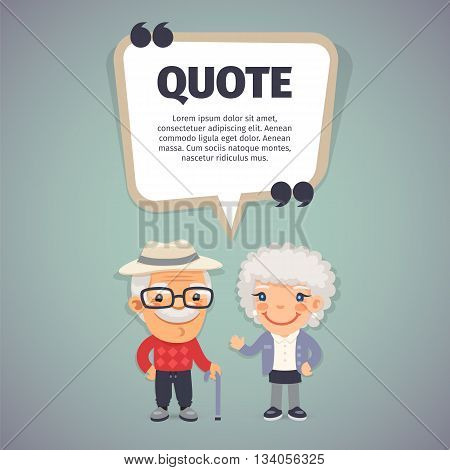 Quote speech banner with flat cartoon elderly couple. Clipping paths included.