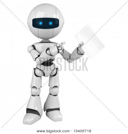 Funny white robot stay with document