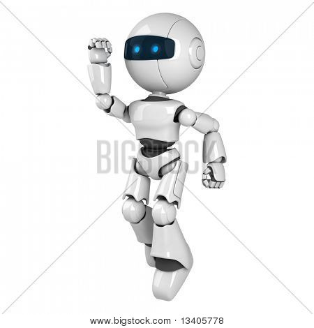 Funny white robot jump