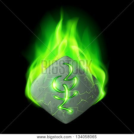 Mysterious quadrangular stone with magic rune burning in green flame