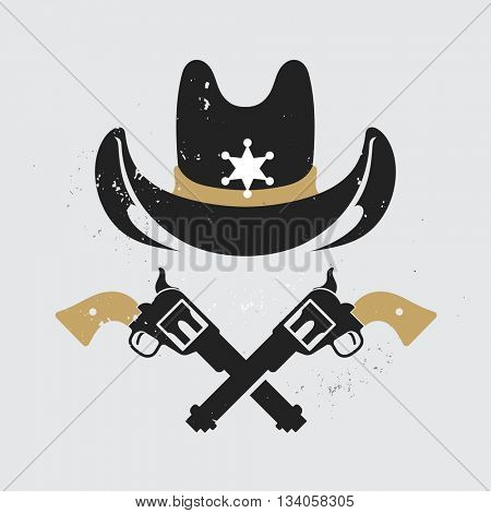 Wild west sheriff hat and two revolvers. Cowboy badge with sheriff star and guns. Isolated  vector illustration.