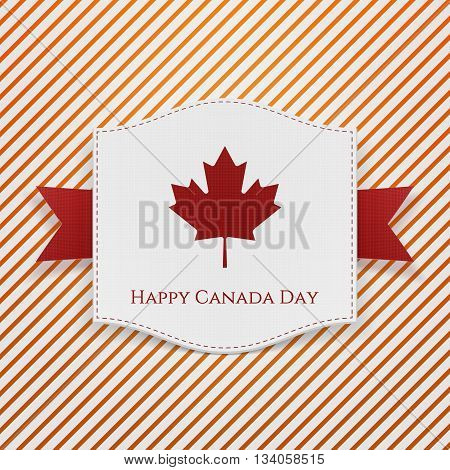 Happy Canada Day striped Background Template. Emblem with Text and Ribbon. Vector Illustration