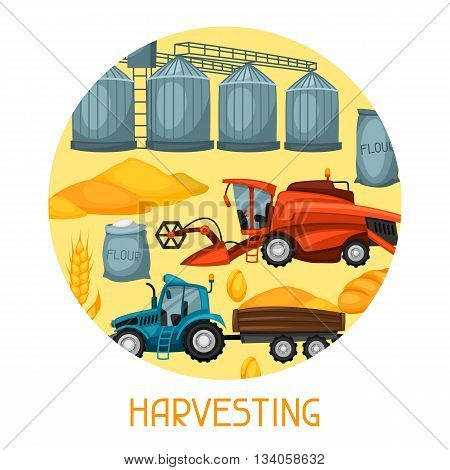 Harvesting background. Combine harvester, tractor and granary. Agricultural illustration farm rural landscape.