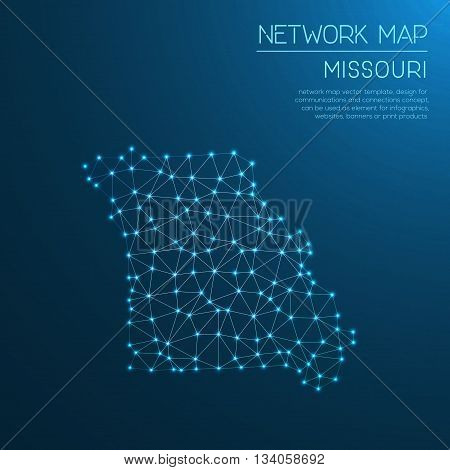 Missouri Network Map. Abstract Polygonal Us State Map Design. Internet Connections Vector Illustrati