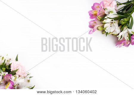 Pink and purple gillyflowers with alstroemeria in the corners of white background
