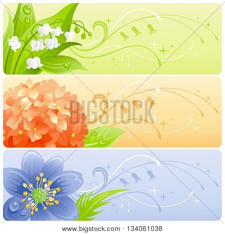 Summer flowers banner set with natural background. Lily of the valley, hydrangea and snowdrop flower for invitation design - wedding card, birthday, bridal shower, mothers day and more.
