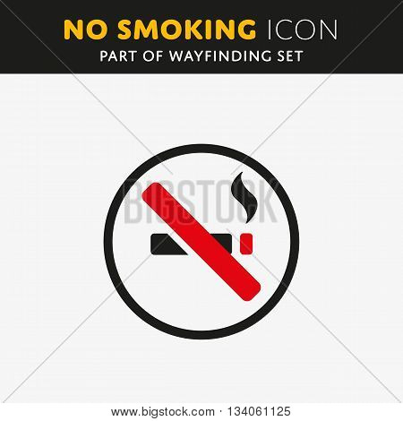 Vector No smoking icon. Cigar sign on white background. Stop nicotine symbol