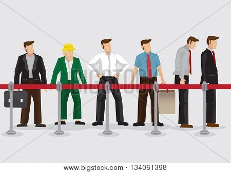 Vector illustration of people young and old standing in line behind queue barriers isolated on plain background.