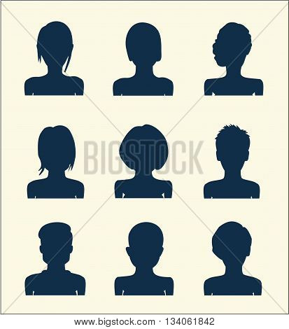 Set of vector female silhouettes with avatar profile picture. User avatars