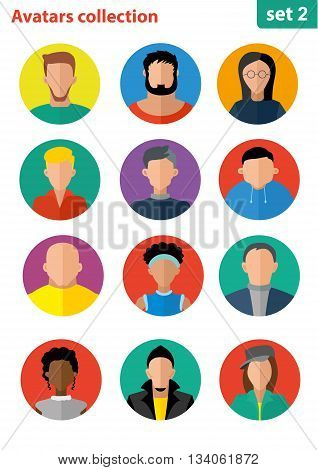 Flat avatar collection, set of 12 people icons in flat style with faces, avatars group of people. Avatars flat. User avatars
