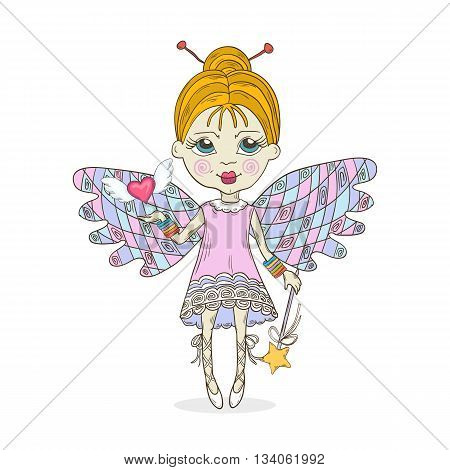 Cut cartoon fairy girl vector illustration.Fairy-tale cute characters isolated on a white background