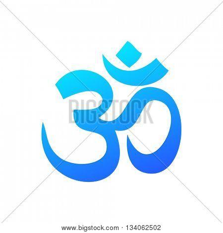 Om - Hinduism symbol. Concept logo design for yoga studio, meditation center. Vector graphic illustration.
