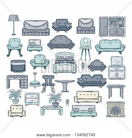 Furniture icon set.Vector Icon set of sofas and armchairs in doddle style with shadow isolated on a white background.