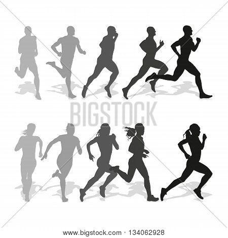 Set of silhouettes of running men and women. Run runner sport