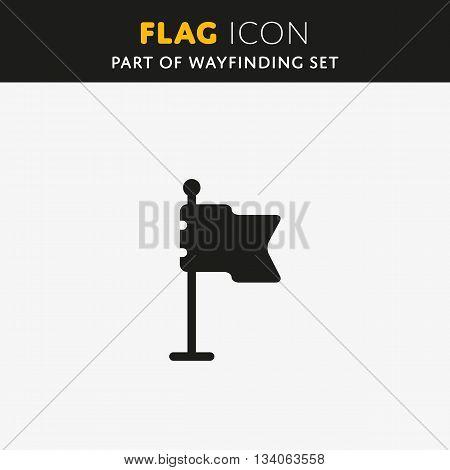 Flag vector icon. Check mark. Waving sign Castle pin