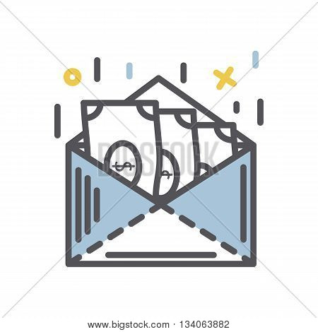 Money in an envelope icon.Vector thin line  business money concept icon isolated on a white background.Send money concept