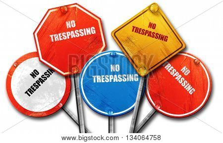 No trespassing sign, 3D rendering, rough street sign collection