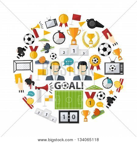 Soccer icon vector set in form of circle in flat style isolated on a white background.Sport equipment competition  play game elements  design