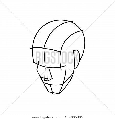 Line drawing wire head vector illustration isolated on white background.