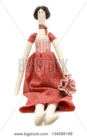 Handmade doll princess - baby toy in red
