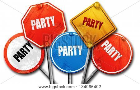 party, 3D rendering, rough street sign collection