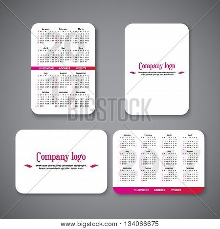 template clean design pocket calendar 2017 with place for the company logo. vector illustration. Vertical and horizontal pocket calendar page