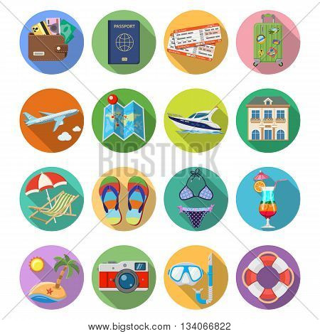 Vacation and Tourism Flat Icons Set with Long Shadow on Circle for Mobile Applications, Web Site, Advertising like Boat, Cocktail, Island, Aircraft and Suitcase.