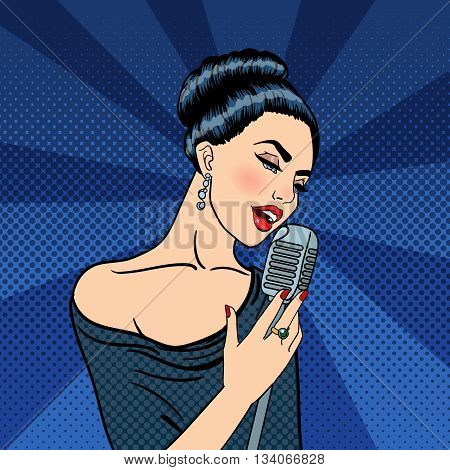 Singing Woman. Beautiful Young Woman with Microphone. Pop Art. Vector illustration