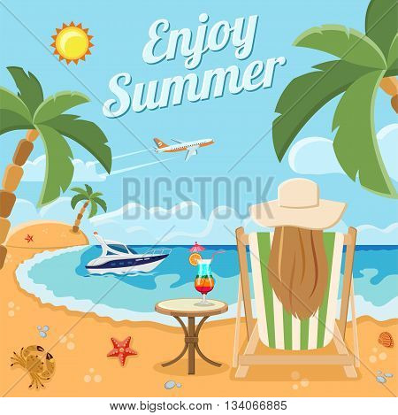 Vacation, Tourism and Summer Concept with Flat Icons for Mobile Applications, Web Site, Advertising like girl sits in chaise lounge with cocktail on the beach, boat, plane and palm trees.
