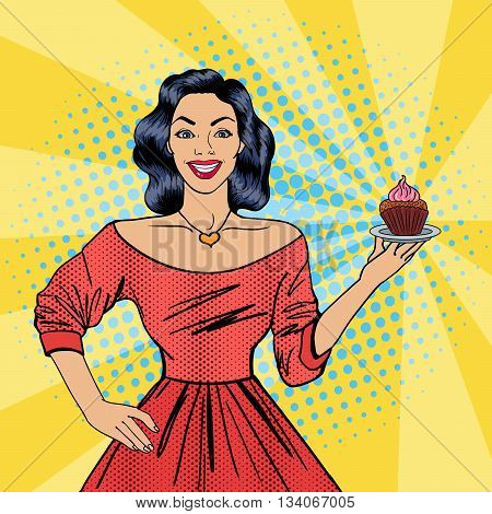 Beautiful Woman Holding a Plate with Cake. Housewife with Cupcake. Pop Art. Vector illustration