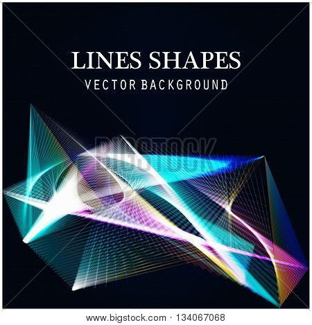 Lines shapes light abstract on blue dark background. Vector expanding light. Smooth abstract background with a slight glow effect and a space for your text or images