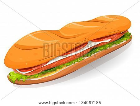 Illustration of an appetizing cartoon fast food sandwich icon with salmon fish slices fresh cheese salad leaves and classic french loaf for takeout restaurant