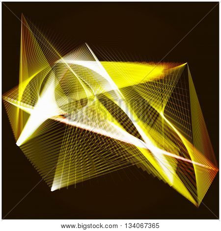 Lines shapes lighting abstract on golden dark background. Vector expanding light gold. Smooth golden abstract background with a slight glow effect and a space for your text or images