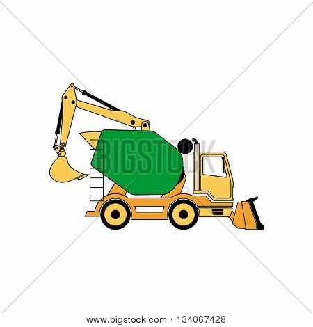 Line drawing construction machine vector illustration isolated on white background.