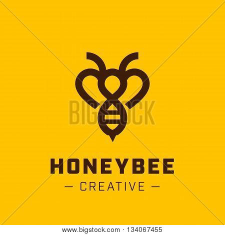 Bee Logo design vector template linear style. Outline icon.Creative Hard work Hive Logotype concept