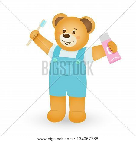 Smiling brown teddy bear holding toothpaste and toothbrush in cartoon style.Isolated on wtite backround.Vector illustration