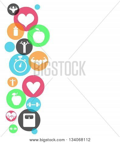 Fitness abstract colored icons on white background