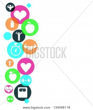 Fitness icons on white background vector illustration