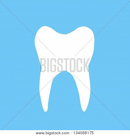 illustration of white tooth on blue background