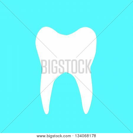 Vector illustration of white tooth on blue