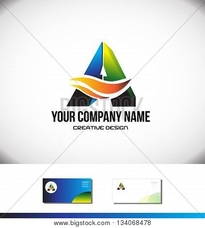 Vector company logo icon element template alphabet letter A 3d green orange blue media games