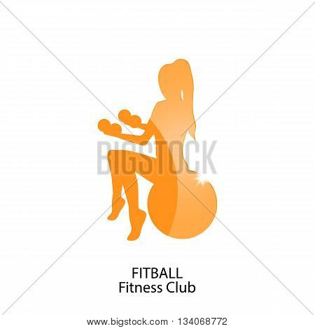 icon fitball and fitness club - vector illustration