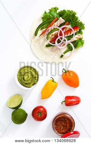 Mexican fajitas ingredients isolated on white background