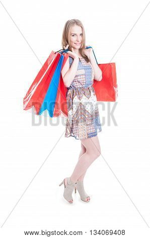 Fashion Young Shopaholic Holding Shopping Bags And Smiling