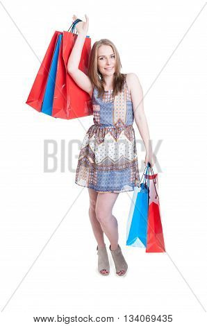 Fashion Shopping Female Model With Colorful Big Paper Bags