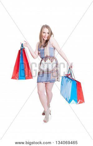 Playful Young Shopaholic Enjoying Leisure And Relaxing At Shopping