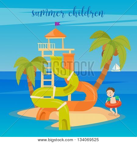 Water Park Summer Vacation. Happy Boy on the Sea. Vector illustration