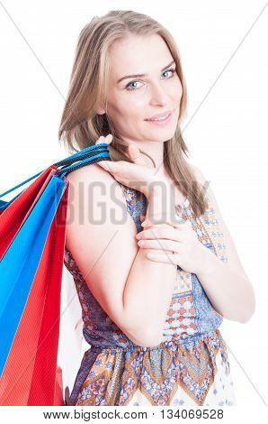 Portrait Of Attractive Shopaholic Smiling And Carrying Shopping Bags