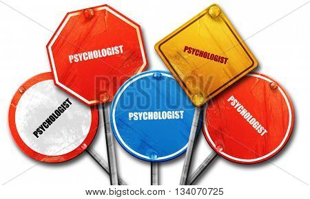 psychologist, 3D rendering, rough street sign collection